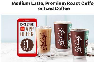 McDonald's Canada Promotion: Enjoy Medium McCafé Latte, Premium Roast Coffee or Iced Coffee for $1.00