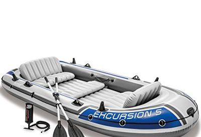 Intex Excursion 5, 5-Person Inflatable Boat Set with Aluminum Oars and High Output Air Pump (Latest Model) $191.26 (Reg $222.48)